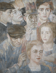 Group with portraits of Semion Ornshtam and Lidochka. 1934. Oil, canvas, 72х56.