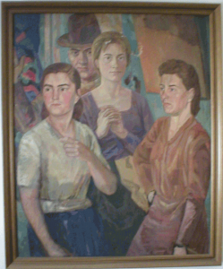 Group portrait with girl who folds her hands. 1954. Oil, canvas.