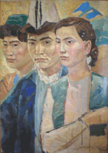 Young kazakhs. 1959. Oil, canvas.