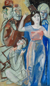 Composition with figures. 1950-s. Cardboard, oil, pencil.