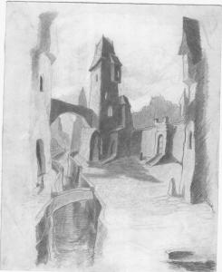 Medieval town. 1927. P., pencil. 28х18.