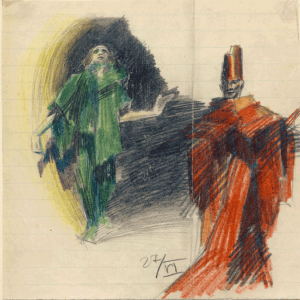 Theatre. 27.06.1928. P., pencil, color pencil. 17х17.