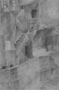 Stairs by the quay. 1928. P., pencil. 31х21.