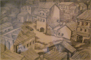 A Province. 1945. P., graphite pencil, ink, pen. 23x34.