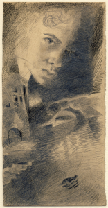 Self-portrait. Leningrad. 1928. P., pencil.