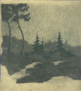 Evening forest. 1928. Paper, pencil. 24х33.