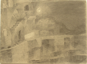 Evening quay. 1928. Paper, pencil. 25х34.