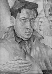 Selfportrait. 1929. P., pencil. 38х27.