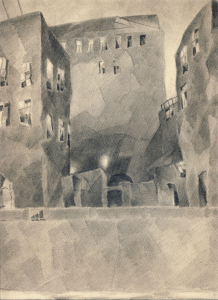 Leningrad's quay. 1929. P., pencil. 33,5х25.