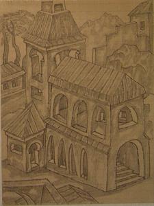 City. 1936-1937. Paper, pencil.