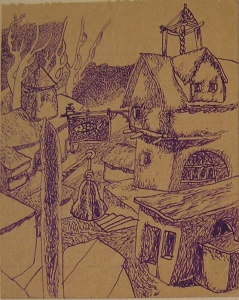 City. 1936-1937. Paper, ink, pen.