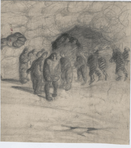Homeless. 1929. P., pencil. 15x14.