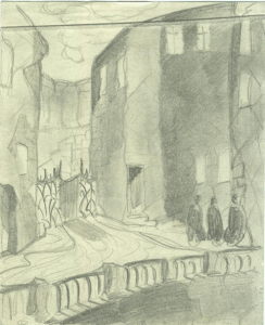 A piece of a town. 1929. Paper, pencil. 16х13.