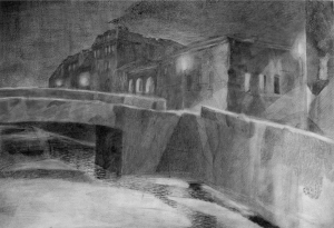 Evening quay. 1929. P., pencil, watercolour. 26х38.5.