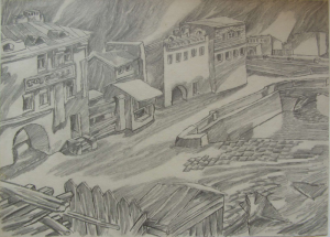 Curfew. 1957. P., graphite pencil. 30x42.