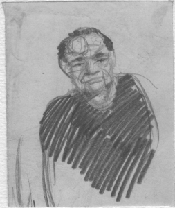 Sketch for Filonov's portrait. 1929-1931. P., pencil.