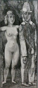 Harlequin and the Girl. 1960. P., Ink. 60х26. Collection of A. Oganesyan.