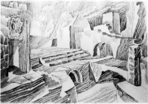 Scene. 1960. B, graphite pencil.