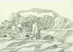 Landscape. 1960. P., graphite pencil. 21x30.
