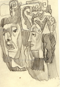 1960's. P., graphite pencil.