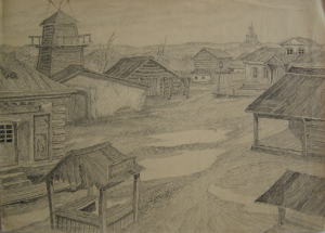 """Square in the Schtetl. Sketch for the movie """"Surgery"""". 1937. P., graphite pencil, ink, pen. 22,5x32."""