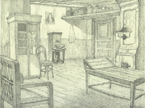 """The doctor's reception room. Sketch for the movie """"Surgery"""". 1937. P., ink, pen. 22x29."""