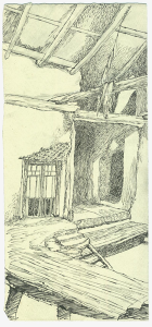 """Sketch for the movie """"At the Border"""". 1938. P., ink, pen. 28x13."""