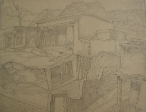 """Horog. Sketch for the movie """"Crossing"""". 1939. P., graphite pencil. 22,3x29."""