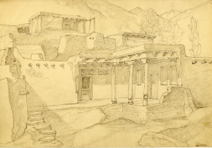 """Hshikat. Sketch for the movie """"Crossing"""". 1939. P., graphite pencil. 21x30."""