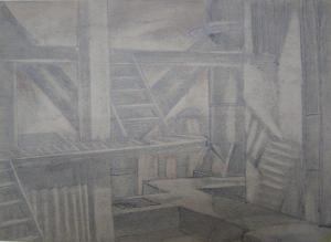 """Цех. Эскиз к кинофильму """"Отец и сын"""". 1941. Б., графитный кар. 18х24,2."""