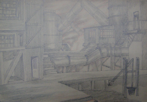"""Shop. Sketch for the movie """"Father and Son"""". 1941. P., graphite pencil., crayon. 20x29."""