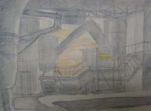 """Shop. Sketch for the movie """"Father and Son"""". 1941. P., graphite pencil, crayon, watercolor. 18x24.2."""
