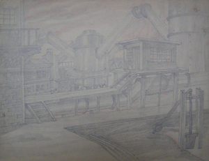"Blast Furnace Shop. Sketch for the movie ""Father and Son"". 1941. P., graphite car, aqua. 22x29."