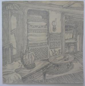 "Sketch for the movie ""The White Rose"". 1943. P., graphite pencil. 29x28."