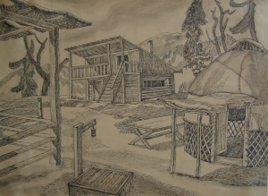 """Sketch for the movie """"Golden Horn"""". 1948. P., ink, pen. 29.7x40.7."""