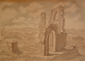 """Ruins. Sketch for the movie """"The Daughter of Steppes"""". 1954. P., graphite pencil., crayon. 29.5x41."""