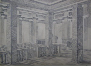 """Vestibule of the Institute. Sketch for the movie """"The Daughter of Steppes"""". 1954. P., ink, pen, brush. 27,7x41,2."""