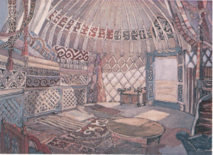 """Yurt. Sketch for the movie """"The Daughter of Steppes"""". 1954. P., graphite pencil, gouache."""