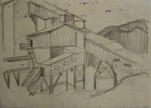 """Sketch for the movie """"On the Wild Bank of Irtysh."""" 1958. P., graphite pencil. 10x14.2."""