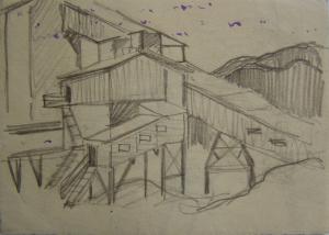 """Эскиз к кинофильму """"На диком бреге Иртыша"""". 1958. Б., графитный кар. 10х14,2."""