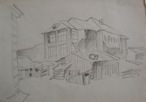 """Sketch for the movie """"On the Wild Bank of Irtysh."""" 1958. P., graphite pencil. 19x26.5."""