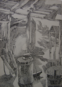 """Repeat of sketch for the movie """"White Rose"""", 1943. 1960. P., ink, pen. 39,7x29.6."""