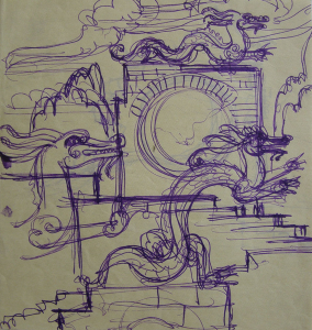 """Chinese Dragons. Sketch for the movie """"Jump into the Unknown."""" 1973. P., ink. 25x24."""