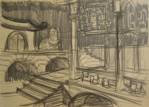 """Китайский интерьер. Эскиз к кинофильму """"Прыжок в неизвестное"""". 1973. Б., графитный кар. 21х30."""
