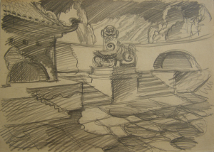 """Chinese Lion. Sketch for the movie """"Jump into the Unknown."""" 1973. P., pencil. 21x30."""