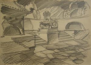 """Китайский лев. Эскиз к кинофильму """"Прыжок в неизвестное"""". 1973. Б., кар. 21х30."""