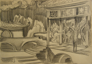 """Chinese Motif. Sketch for the movie """"Jump into the Unknown."""" 1973. P., graphite pencil. 21x30."""