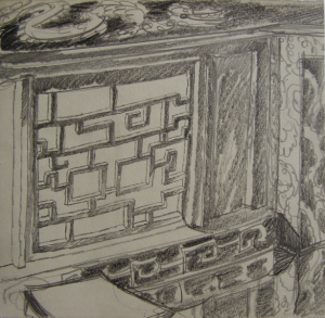 """Chinese Window. Sketch for the movie """"Jump into the Unknown."""" 1973. P., graphite pencil. 21x21."""