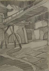 """Набросок к кинофильму """"Прыжок в неизвестное"""". 1973. Б., графитный кар. 28,7х20,4."""