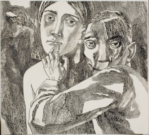 "Silence! From the cycle ""Do Not Forget."" 1961. P., ink, pen. 41.6x45.8. The State Tretyakov Gallery."